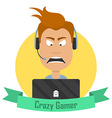 Cartoon Crazy Gamer Angry man with a laptop or a vector image vector image