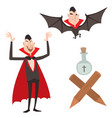 cartoon dracula symbols vampire icons vector image