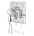 cartoon of businessman looking at maze on wall vector image