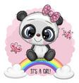 cartoon panda is on rainbow vector image