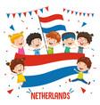 children holding netherlands flag vector image vector image