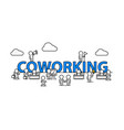 coworking text work office with people vector image vector image