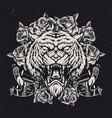 cruel tiger head vintage concept vector image