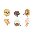 Cute funny food characters set sandwich sushi