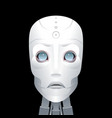 cyborg with big blue eyes on a black background vector image vector image