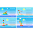 donut ride and surfing sport active rest banner vector image vector image