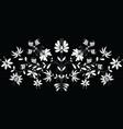 European folk floral pattern in in white on black vector image vector image