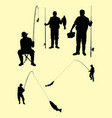 fishing silhouette 03 vector image vector image