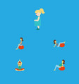 flat icon pregnancy set of lady sport yoga and vector image vector image