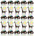 giraffes and elephants vector image vector image