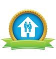 Gold love home logo vector image vector image