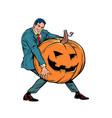 halloween pumpkin and businessman vector image vector image