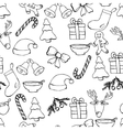 Hand drawn seamless christmas background Black vector image