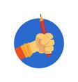 hand holding pencil cartoon vector image vector image