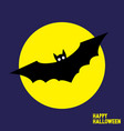 happy halloween card with flying bat vector image