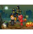 happy halloween witch and red devil in front of th vector image vector image