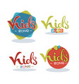 kids zone playful lettering logo composition vector image vector image