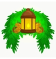Lantern stands on the spruce branches and candle vector image