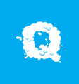letter q cloud font symbol white alphabet sign on vector image vector image