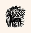moose or deer woodland animal drawing in ornate vector image