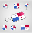 panama country flag on keychain and map pin vector image