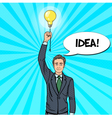Pop Art Businessman with Lightbulb Idea vector image vector image