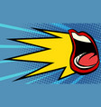 pop art female mouth scream vector image vector image