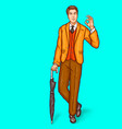 pop art man stands leaning on umbrella cane and vector image