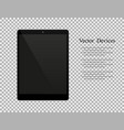 realistic black tablet with blank screen isolated vector image