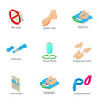 reproduction icons set isometric style vector image vector image
