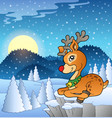 scene with christmas deer 2 vector image vector image