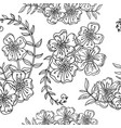 seamless pattern contour flowers monochrome vector image