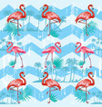 seamless pattern with flamingoes vector image