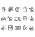 shopping icons set - line form vector image