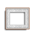 Silver frame with ornament isolated on white vector image vector image