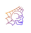 skull with spider web gradient linear icon vector image