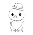 snowman with christmas hat and heart kawaii vector image