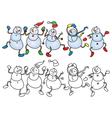 snowmen dance vector image vector image