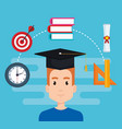 student with education supplies vector image vector image