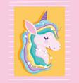 tangled unicorn with stars rainbow mane fantasy vector image vector image