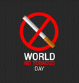 world no tobacco day concept stop smoking vector image