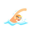 young man with goggles swimming in the pool vector image vector image