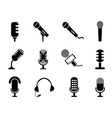microphone icons set vector image
