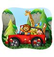 Wild animals riding on jeep