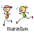 A marathon between two stickmen vector image
