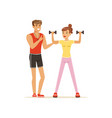 professional fitness coach exercising with vector image