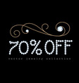 70 off banner with diamond jewelry letters vector image vector image