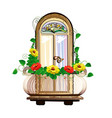 balcony with flowers and stained glass vector image vector image
