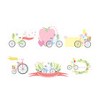bicycles floral elements and balloons elegant vector image vector image