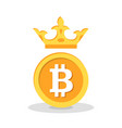 bitcoin with crown flat icon vector image